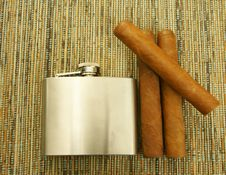 Cigars And Hip-flask Stock Images
