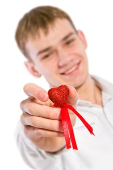 Free Young Man Holding Heart In His Hand. Royalty Free Stock Photo - 18084755