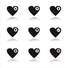 Free Black Hearts Icons Stock Images - 18085214