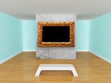 Gallery S Hall With Bench Royalty Free Stock Photos