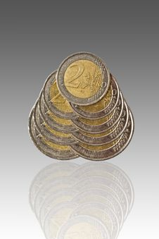 Free Euro Coins And Reflection Stock Image - 18086101