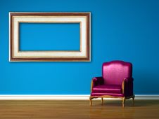 Purple Chair With Empty Frame Stock Photo
