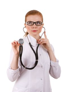 Free Red Head Female Doctor With Stethoscope. Royalty Free Stock Photo - 18086435