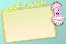 Happy Easter Bunny In An Egg Card Royalty Free Stock Image
