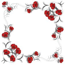 Free Background With Pattern Of Red Flowers Royalty Free Stock Photography - 18086477