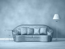 Couch With Table And Standard Lamp Stock Photos