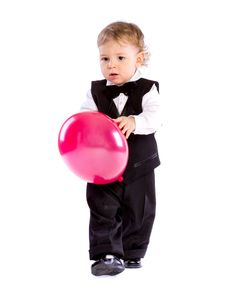 Free Baby Boy In Age One Year Holding Balloon Stock Images - 18086554
