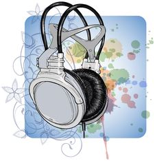 Headphones & Floral Calligraphy Ornament Royalty Free Stock Photo