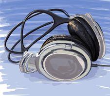 Free Headphones On Blue Background Royalty Free Stock Image - 18087276