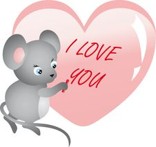 Free Mouse Writing On Heart. Vector Stock Image - 18087341
