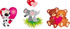 Free Valentine`s Day Animals Vector Collection Stock Photos - 18087343
