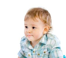 Free Happy Cute Baby Boy Over White Stock Image - 18087391