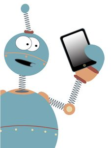 Surprised Cartoon Robot Holding Tablet Royalty Free Stock Photos