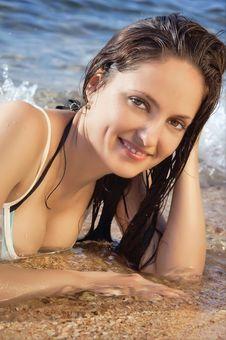 Free Young Beautiful Girl On The Beach In A Bikini Stock Photos - 18087713