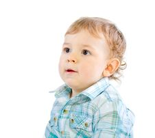 Free Emotion Happy Cute Baby Boy Over White Royalty Free Stock Image - 18087726