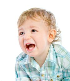 Emotion Happy Cute Baby Boy Over White Royalty Free Stock Image