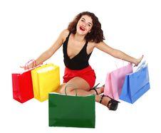 Happy Shopaholic Girl Royalty Free Stock Photo