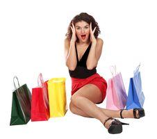 Emotional Shopaholic Pretty Woman Stock Photo
