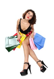 Free Shopaholic Woman With Happy Face Royalty Free Stock Photos - 18088298