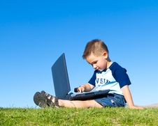 Free Boy And Laptop Royalty Free Stock Image - 18088796