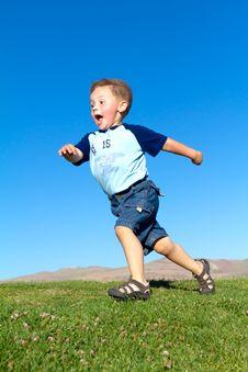 Little Boy In Move Stock Photos
