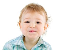 Free Emotion Happy Cute Baby Boy Over White Royalty Free Stock Photography - 18089537