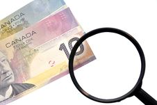 Free Magnifying Glass On Money Background Stock Photos - 18089553
