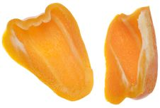 Free Pair Of Sliced Orange Bell Peppers Royalty Free Stock Image - 18089656