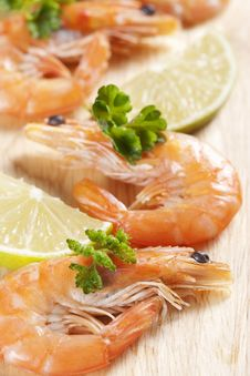 Free Shrimps With Parsley And Lemon Stock Photography - 18089872