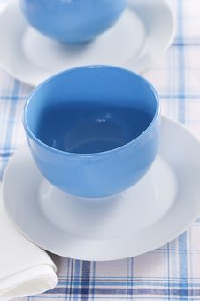 Free Two Empty Blue Plates For The Soup Stock Image - 18089921