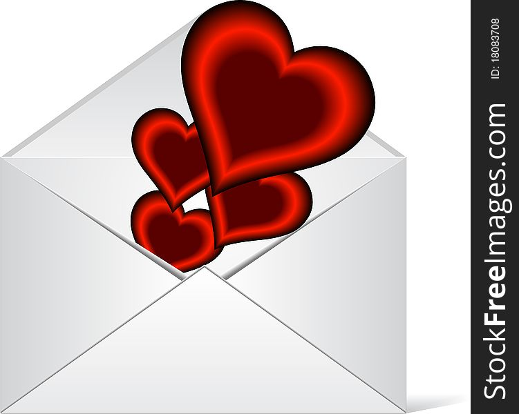 Hearts in love coming out from a envelope