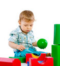 Free Cute Little Baby Boy With Colorful Building Block Stock Images - 18093574