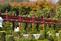 Free Red Wooden Bridge In The Garden Stock Photo - 18099690