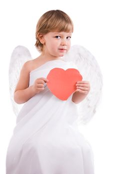 Boy Angel With Heart In Hand Royalty Free Stock Image