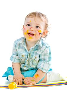 Free Beautiful Baby Covered In Bright Paint Stock Photo - 18090690