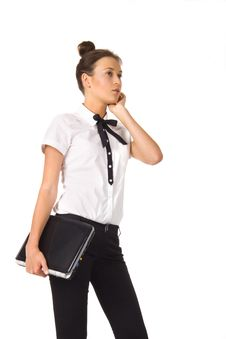 Free Woman Standing And Holding A Laptop In Hand Royalty Free Stock Image - 18090766