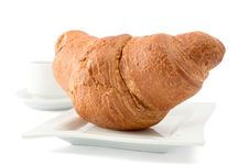 Free Croissant On A White Plate Stock Images - 18092144