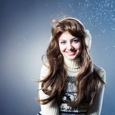 Free Young Beautiful Girl Rejoices To Snow Royalty Free Stock Photo - 18092185