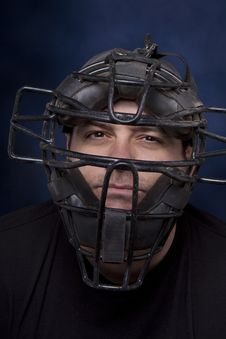 Free Man In A Catcher S Mask - Vertical Stock Photo - 18092310