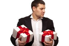 Free Gentleman With Gift Boxes Stock Photos - 18093093