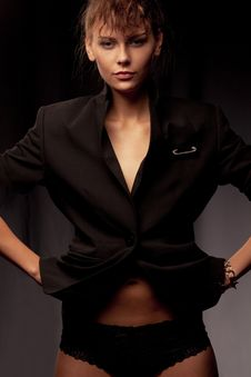Free Woman Wearing Black Jacket Royalty Free Stock Images - 18093159