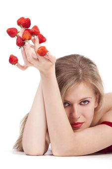 Free Woman With Red Strawberries Picked On Fingertips Stock Photos - 18093163