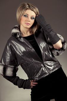 Woman In Leather Jacket Royalty Free Stock Image