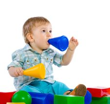 Free Cute Little Baby Boy With Colorful Building Block Royalty Free Stock Photos - 18093538