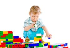 Free Cute Little Baby Boy With Colorful Building Block Stock Photos - 18093653