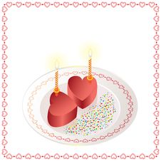 Free Two Cakes In The Form Of Heart With Candles Royalty Free Stock Photo - 18093755