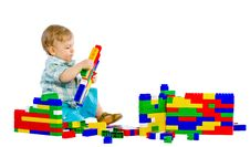 Free Cute Little Baby Boy With Colorful Building Block Stock Photography - 18093882