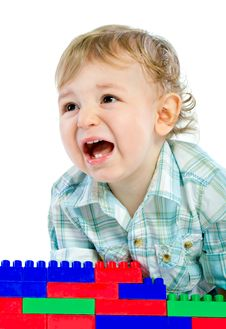 Free Cute Little Baby Boy With Colorful Building Block Royalty Free Stock Photo - 18094125