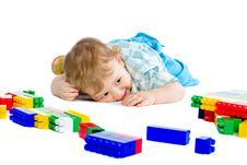 Free Cute Little Baby Boy With Colorful Building Block Royalty Free Stock Image - 18094326