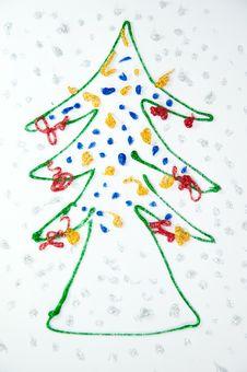 Free Christmas Tree Kids Draw Royalty Free Stock Photos - 18094658